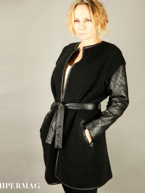 Дизайнерска жилетка с кожени ръкави AGGATA