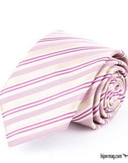 Стилна мъжка вратовръзка в розово райе New Style