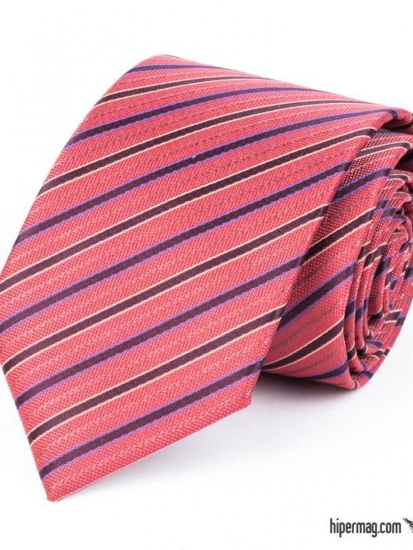Мъжка вратовръзка в червено райе New Style
