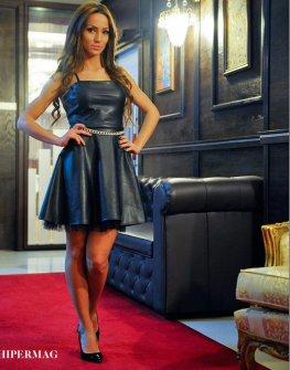 Къса рокля от еко кожа La Speciale
