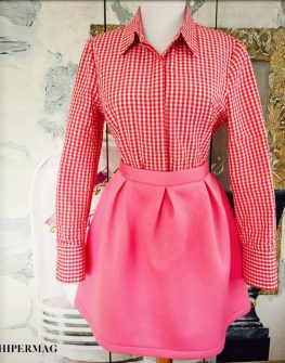 Къса дамска пола в розово AGGATA