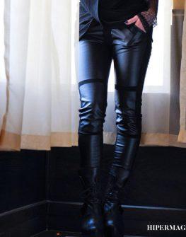 Черен панталон La Speciale - трико и еко кожа