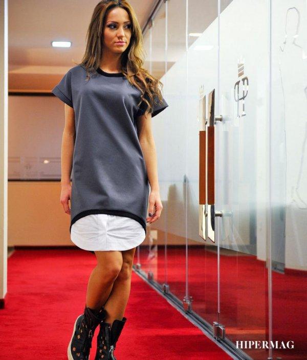 Дизайнерска роклятуника в сив цвят La Speciale