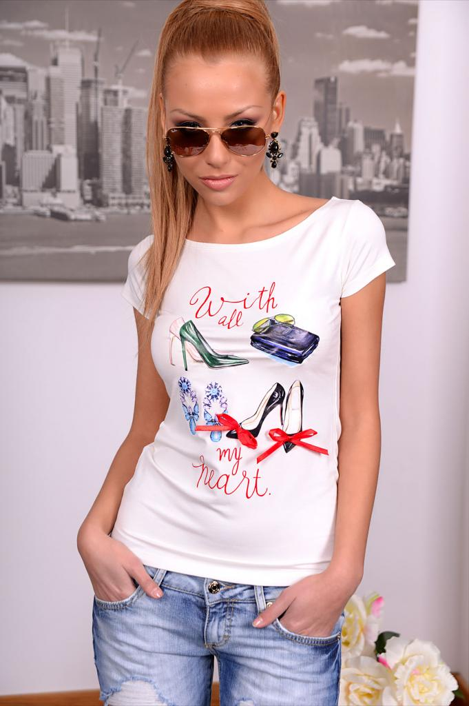 Дамска тениска с панделки