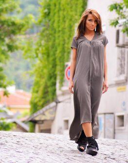 Дизайнерска рокля цвят каки La Speciale