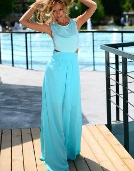 Дълга рокля в цвят аквамарин DPmoda