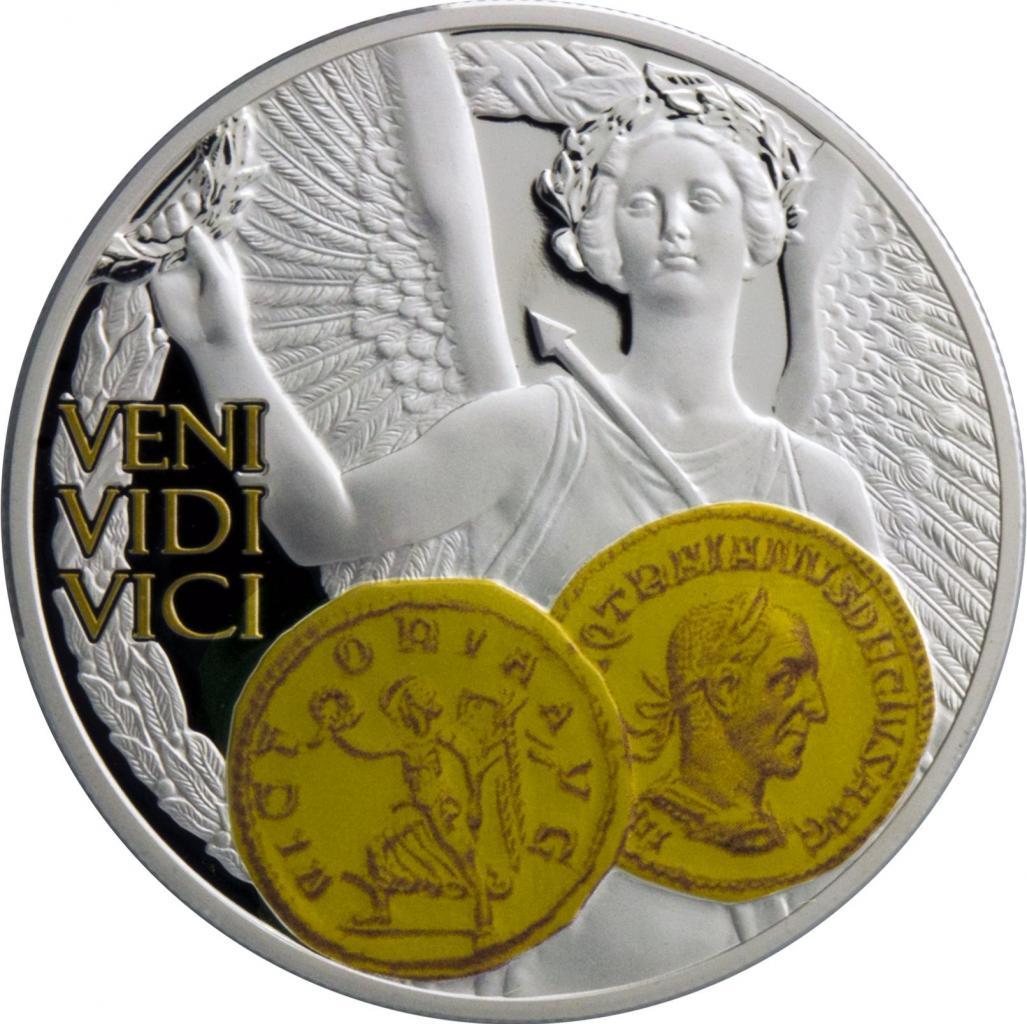 """Сребърна монета с частично позлатяване """"Виктория, Богинята на победата"""""""
