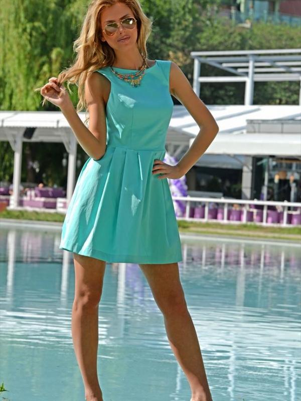 Къса рокля в цвят тюркоаз DPmoda