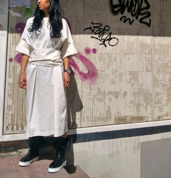 Бяла рокля със свободна кройка Kotyto