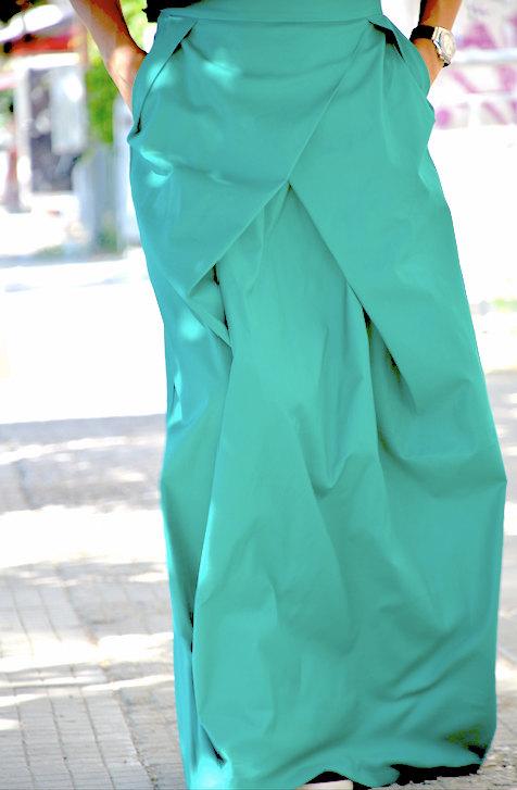 Дълга дизайнерска пола в зелено Kotyto