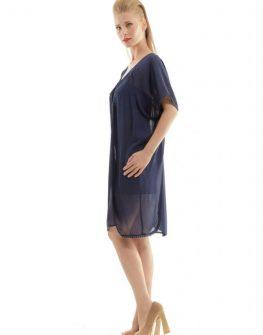 Стилна тъмносиня рокля CONQUISTA