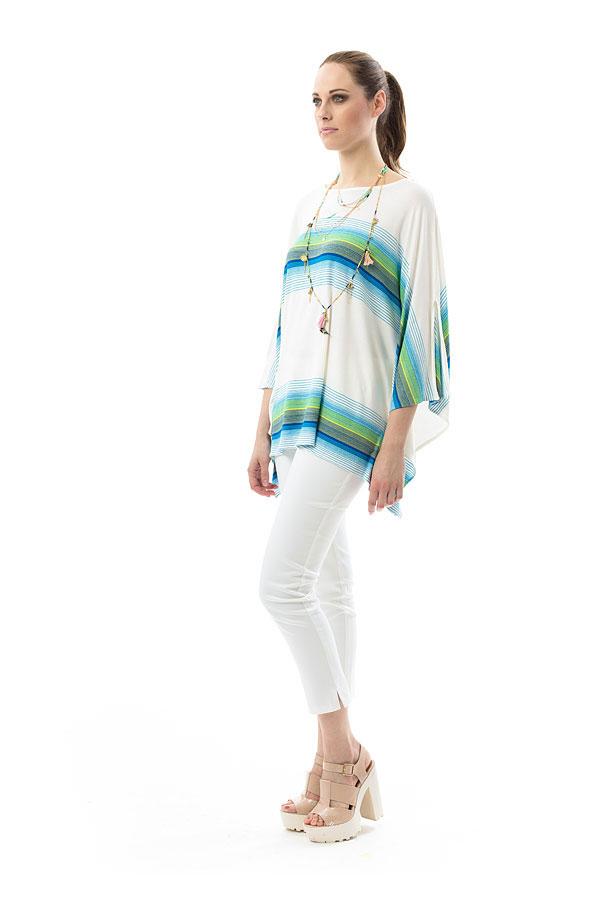 Дамска блуза в синьо и зелено райе CONQUISTA