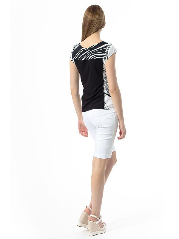 Черна блуза с къс ръкав с бели акценти CONQUISTA
