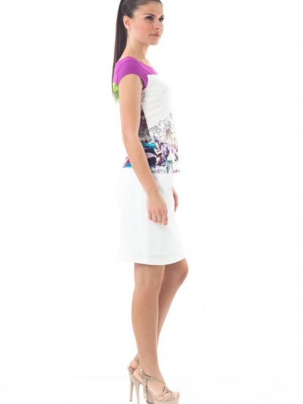 Дамска блуза с къс ръкав с нежен принт CONQUISTA