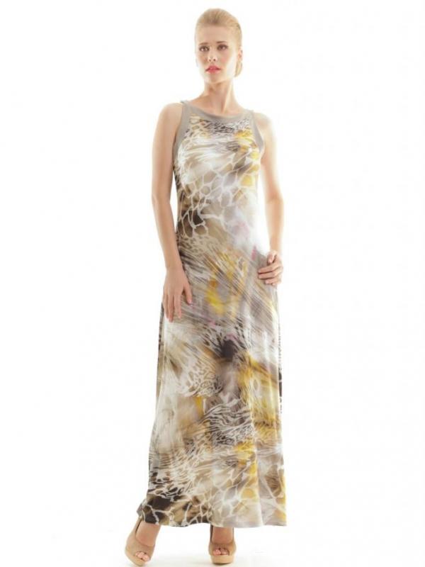 Дълга рокля с анималистичен принт CONQUISTA