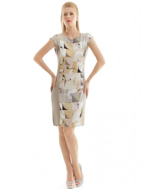 Стилна рокля с геометричен принт CONQUISTA