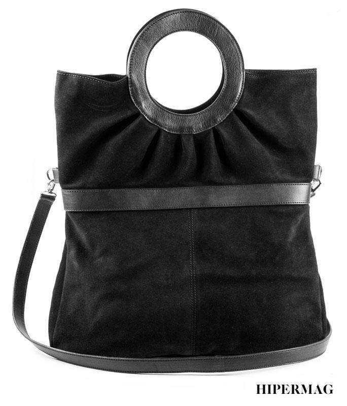 Дизайнерска велурена чанта в черно Kotyto
