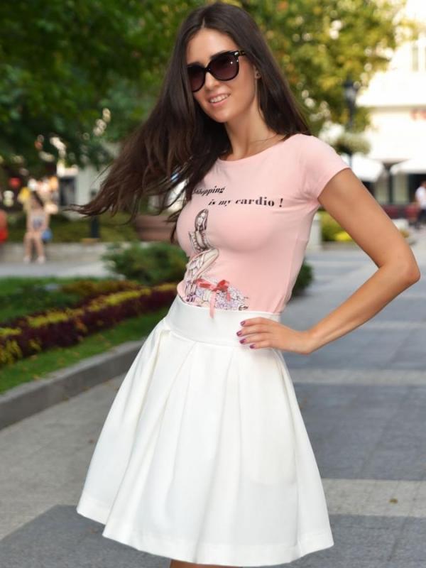 Розова блуза с къс ръкав DPmoda