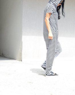 Дамски гащеризон в черно – бяло райе Kotyto