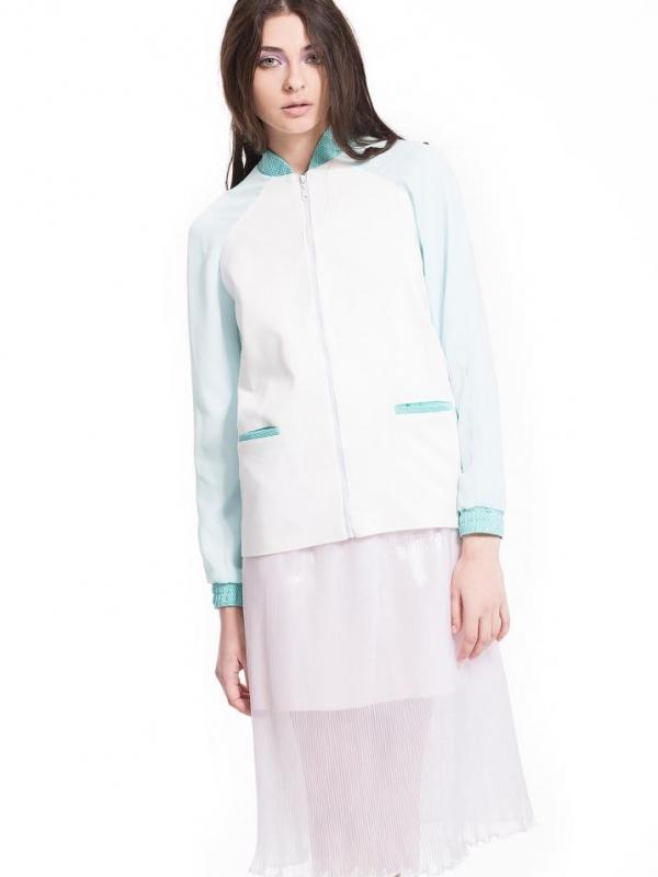 Дизайнерско яке в бяло и тюркоаз Pulse