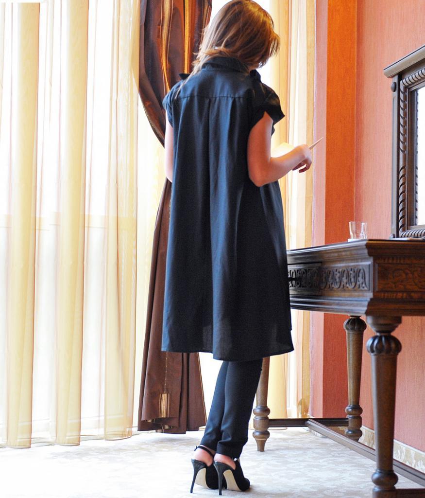 Дизайнерска риза/туника в черен цвят La Speciale