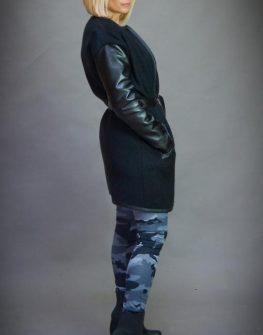 Плетена жилетка с кожени ръкави Aggata