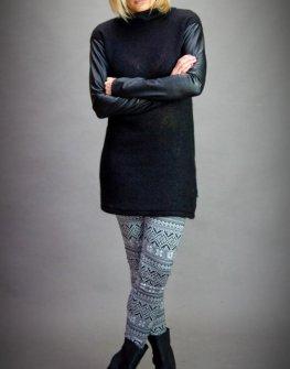 Черна дизайнерска туника с кожени ръкави Aggata