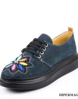 Дамски обувки на равна платформа в син цвят Sara Pen