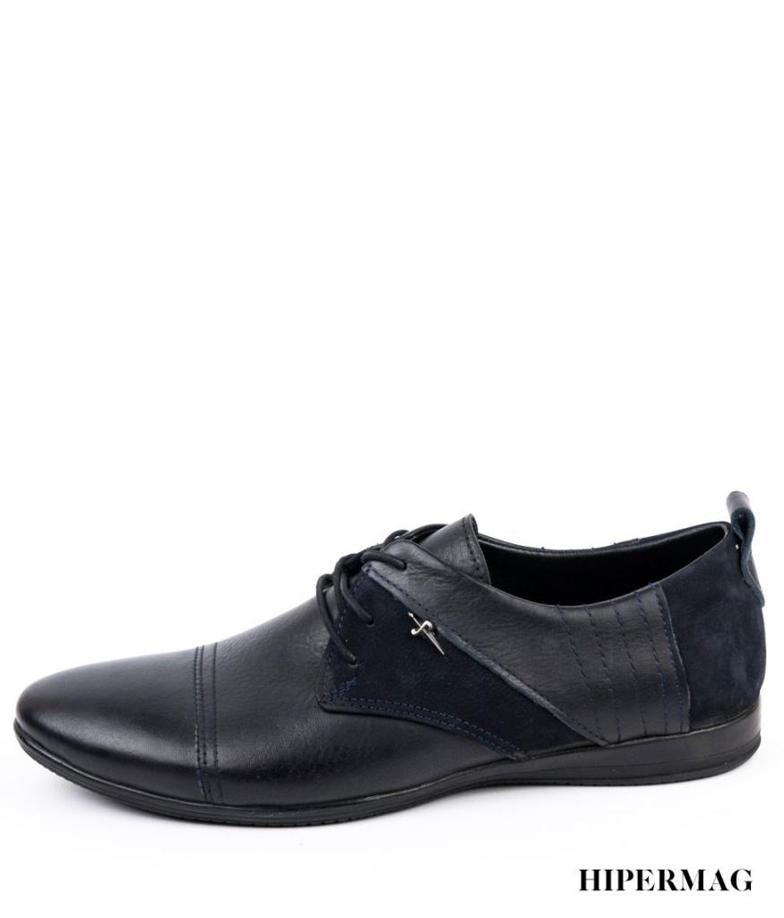 Тъмносини мъжки обувки от кожа и велур Balis