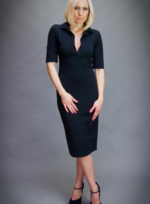 Черна дизайнерска рокля Aggata