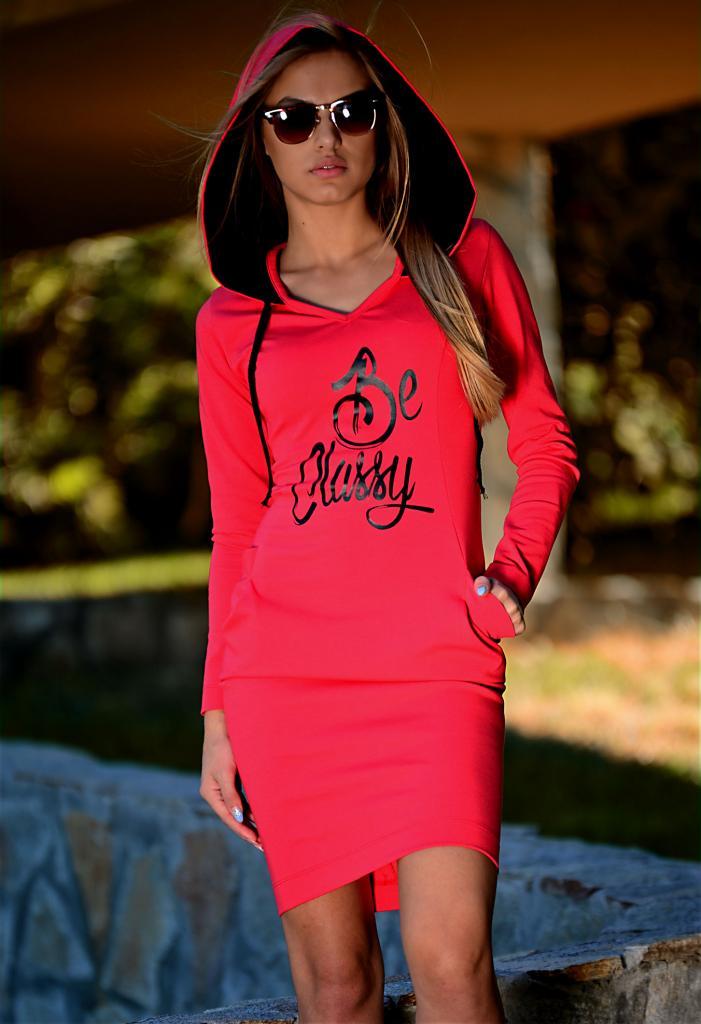 Червена рокля с качулка DPmoda