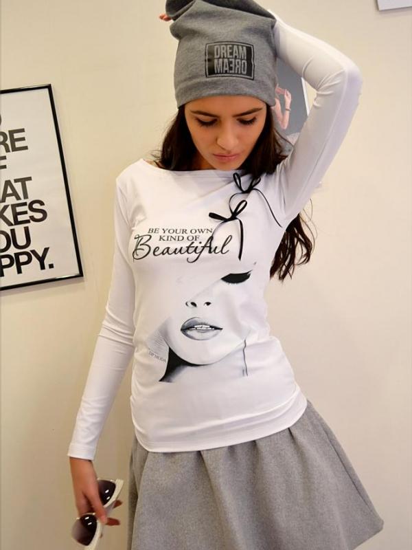 Стилна блуза с надпис и щампа DPmoda