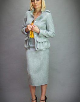 Дизайнерска пола с висока талия в сиво Aggata