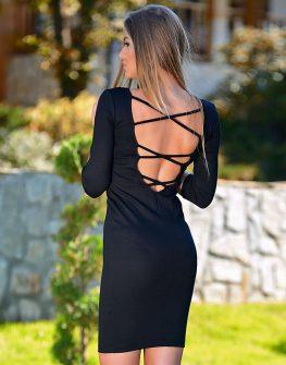 Черна рокля с изрязан гръб DPmoda