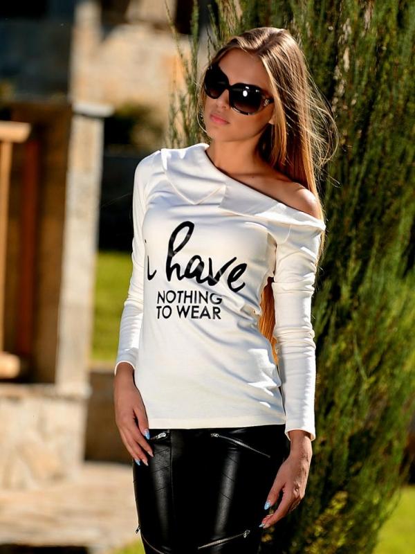 Дамска блуза с дълъг ръкав с щампа DPmoda