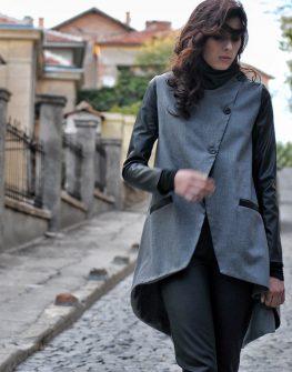 Сив фрак с кожени ръкави - от La Speciale
