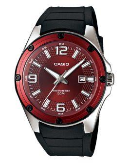 Мъжки часовник Casio с циферблат бордо.