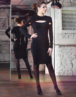 Елегантна черна рокля с дълъг ръкав La Speciale