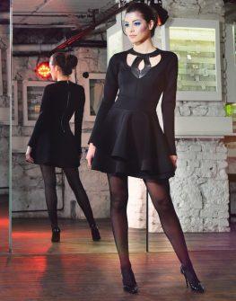 Къса дизайнерска рокля La Speciale с дълъг ръкав
