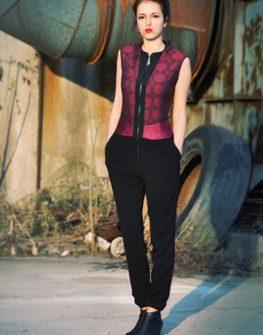 Стилен дамски гащеризон в цвят бордо Gisele