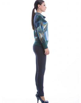 Дизайнерска дамска блуза в синьо и зелено  CONQUISTA