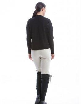 Стилна блуза в черно с акценти в екрю CONQUISTA