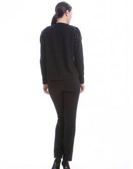 Блуза в черно с акценти от кожа CONQUISTA
