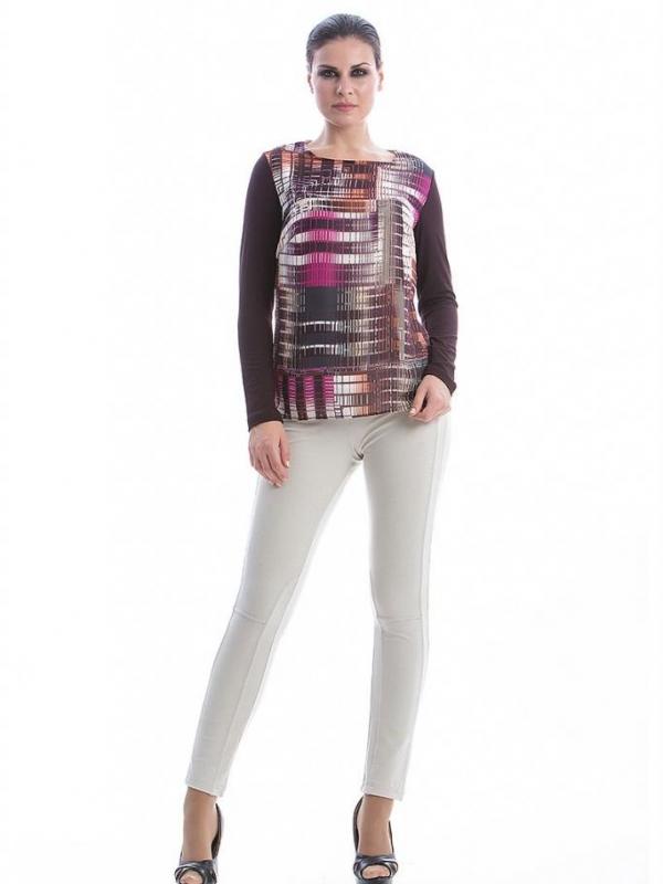 Блуза с дълъг ръкав и цветен принт CONQUISTA