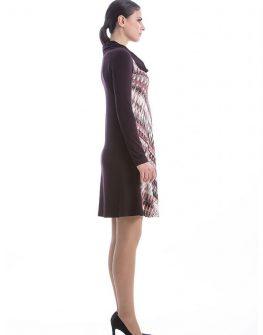 Дизайнерска рокля с дълъг ръкав в кафяво CONQUISTA