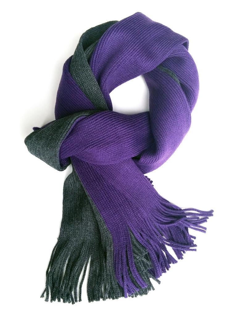 Спортен шал в сиво и лилаво