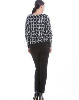 Стилна дамска блуза CONQUISTA в бяло и черно