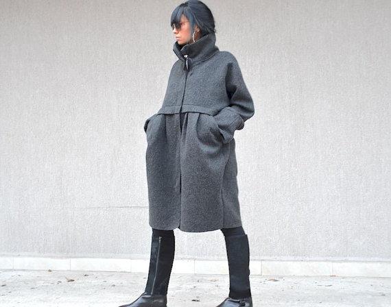 Дизайнерско палто в сив цвят Kotyto