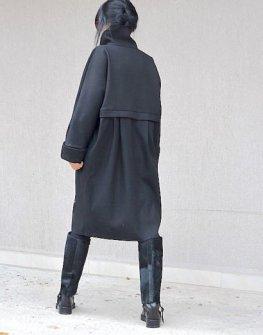 Черно дамско палто Kotyto