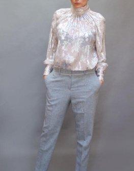 Ефектна риза със сребристи елементи Aggata